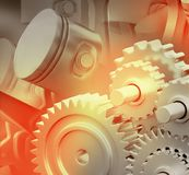 3d engine pistons and cog wheels. Background Royalty Free Stock Images