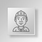 3D engineer Button Icon Concept. 3D Symbol Gray Square engineer Button Icon Concept Stock Photo
