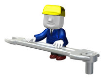 3d engineer working with his tool. 3D Square Man Series. Royalty Free Stock Photography