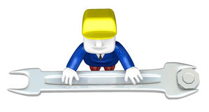 3d engineer working with his tool. 3D Square Man Series. Royalty Free Stock Photo
