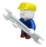 3d engineer working with his tool. 3D Square Man Series. Royalty Free Stock Photos