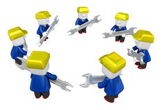 3d engineer working with his tool. 3D Square Man Series. Stock Photos