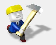 3d engineer working with their big hammer Royalty Free Stock Photography