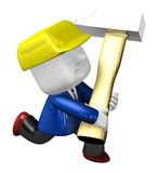 3d engineer working with their big hammer. 3D Square Man Series. Royalty Free Stock Images