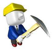 3d engineer working with their big pickax. 3D Square Man Series. Stock Photo