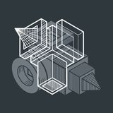 3D engineering vector, abstract shape made using cubes and geome Stock Photography