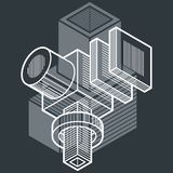 3D engineering vector, abstract shape made using cubes and geome. Tric forms stock illustration