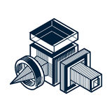 3D engineering vector, abstract shape made using cubes and geome. Tric forms vector illustration
