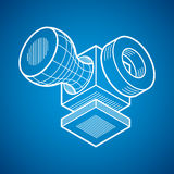 3D engineering vector, abstract shape made using cubes and geome Royalty Free Stock Photos