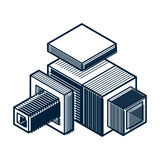 3D engineering vector, abstract shape made using cubes and geome Stock Photos
