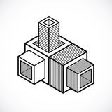 3D engineering vector, abstract shape made using cubes and geome Stock Images