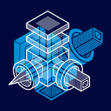3D engineering vector, abstract shape made using cubes and geome. Tric forms Royalty Free Stock Image