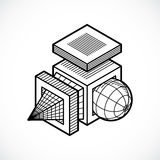 3D engineering vector, abstract shape made using cubes and geome. Tric forms Stock Image