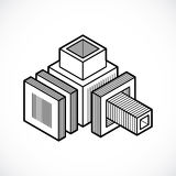 3D engineering vector, abstract shape made using cubes and geome. Tric forms Royalty Free Stock Photography