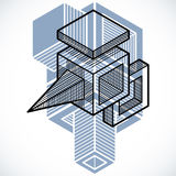 3D engineering vector, abstract shape made using cubes and geome Stock Photo