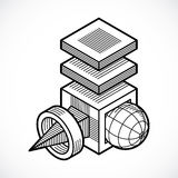 3D engineering vector, abstract shape made using cubes  Royalty Free Stock Image