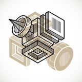 3D engineering vector, abstract shape made using cubes. And geometric forms Stock Photo