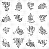 3D engineering vectors, abstract shapes collection. Geometric shapes in modern art composition Royalty Free Stock Photo