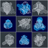 3D engineering vectors, collection of abstract shapes. Royalty Free Stock Photography