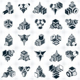 3D engineering vectors, collection of abstract shapes. Royalty Free Stock Photos