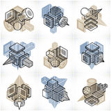 3D engineering vectors, collection of abstract shapes. Artisic abstraction illustration.nn Stock Photos