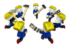 3d engineers working with their big hammer. 3D Square Man Series Stock Image