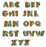 3D English alphabet fonts in architect texture style Stock Image