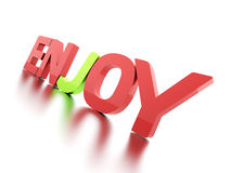 3D Enjoy text with reflection on white. Background Stock Photography