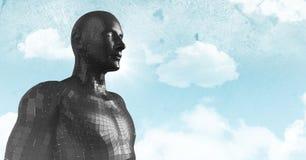 3D ennegrecen al varón AI contra el cielo y las nubes Foto de archivo libre de regalías