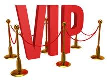 3d enorme letra el VIP y la barrera de oro de la cuerda Fotografía de archivo