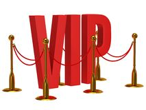 3d enorme segna il VIP e la barriera con lettere dorata della corda Immagine Stock Libera da Diritti