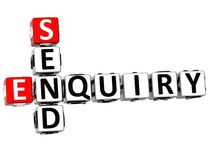 3D Enquiry Send Crossword. On white background Stock Photography