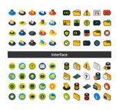 D'ensemble d'icônes dans le style différent - versions isométriques d'appartement et d'otline, colorée et noires illustration de vecteur