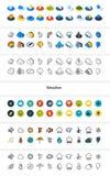D'ensemble d'icônes dans le style différent - versions isométriques d'appartement et d'otline, colorée et noires Photographie stock libre de droits