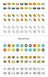 D'ensemble d'icônes dans le style différent - versions isométriques d'appartement et d'otline, colorée et noires illustration libre de droits
