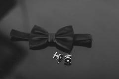 Dżentelmenów akcesoria Man& x27; s styl motyl, cufflinks Ustalony fornal Zdjęcia Stock