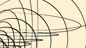 3D entrelazado negro abstracto enmarca de los círculos que giran en el fondo marrón claro, lazo inconsútil animación volumen ilustración del vector