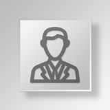 3D entrepreneur Button Icon Concept Images libres de droits