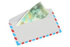 3D envelope with 50 shekels Stock Photography