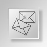 3D envelopes Button Icon Concept Royalty Free Stock Images
