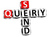3D enviam palavras cruzadas da pergunta no fundo branco Fotografia de Stock Royalty Free