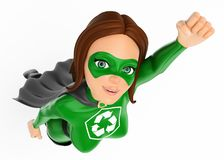 3D Woman superhero of recycling flying. 3d environment people illustration. Woman superhero of recycling flying. White background royalty free illustration
