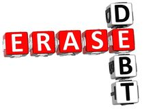 3D Erase Debt Crossword. On white background Royalty Free Stock Photography