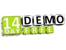 3D erhalten 14 Tag Demo Free Block Letters Lizenzfreie Stockbilder