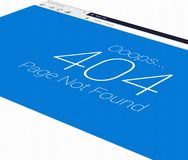 3D Error 404 in browser with blue background at an angle. Browser mockup of an error 404 page not found displayed at a 3D angle royalty free stock image