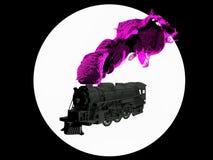 3D erzeugte Schattenbild der Dampflokomotive in Schwarzweiss auf weißem Hintergrund Luftstoßender Rauch des Zugs von seinem Rohr lizenzfreie stockfotos