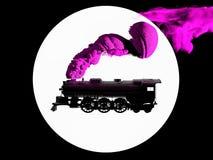 3D erzeugte Schattenbild der Dampflokomotive in Schwarzweiss auf weißem Hintergrund Luftstoßender Rauch des Zugs von seinem Rohr lizenzfreie stockbilder