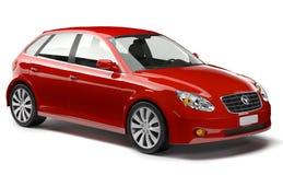 3D erzeugtes rotes Auto Stockfoto