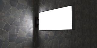 3d esconden la cartelera de publicidad de la calle en la pared de ladrillo en la noche en el backgroud de piedra Imagenes de archivo