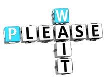 3d esperam por favor o texto das palavras cruzadas Imagens de Stock Royalty Free